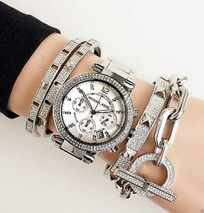 Original-Michael-Kors-Uhr-Damenuhr-MK5353-Parker-FARBE-Silber-Kristall-NEU
