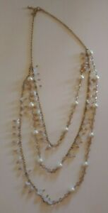 Vintage Lucite Faux Pearl Statement Necklace Multi Layered White Beads Jewelry