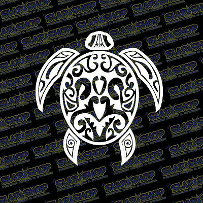 DecalDestination Hawaiian Turtle Decal White Choose Size