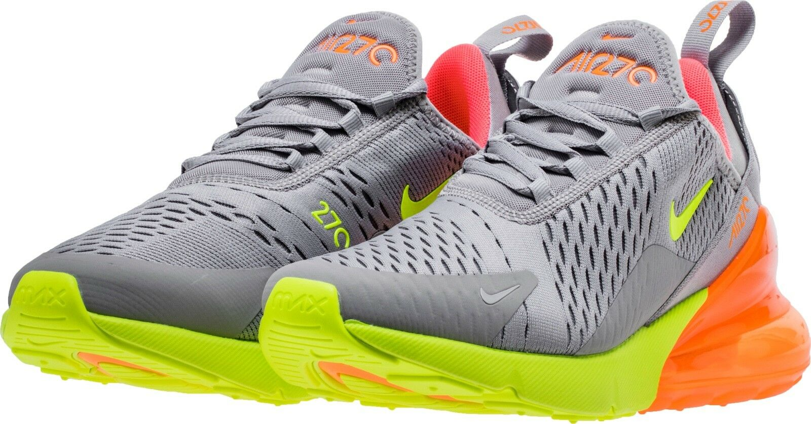 RARE Nike Men's Air Max 270 Running Shoes AH8050-012 Grey Volt Orange The most popular shoes for men and women