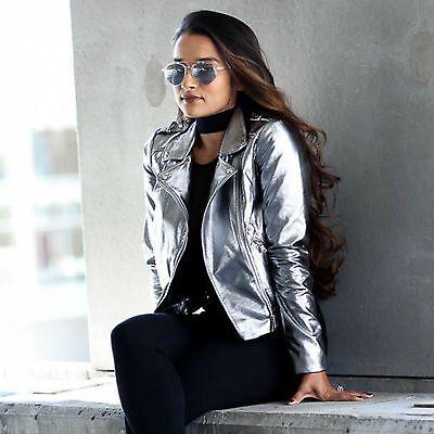 ZARA Woman BNWT Authentic Dark Silver Metallic Short Biker Jacket 5070/212