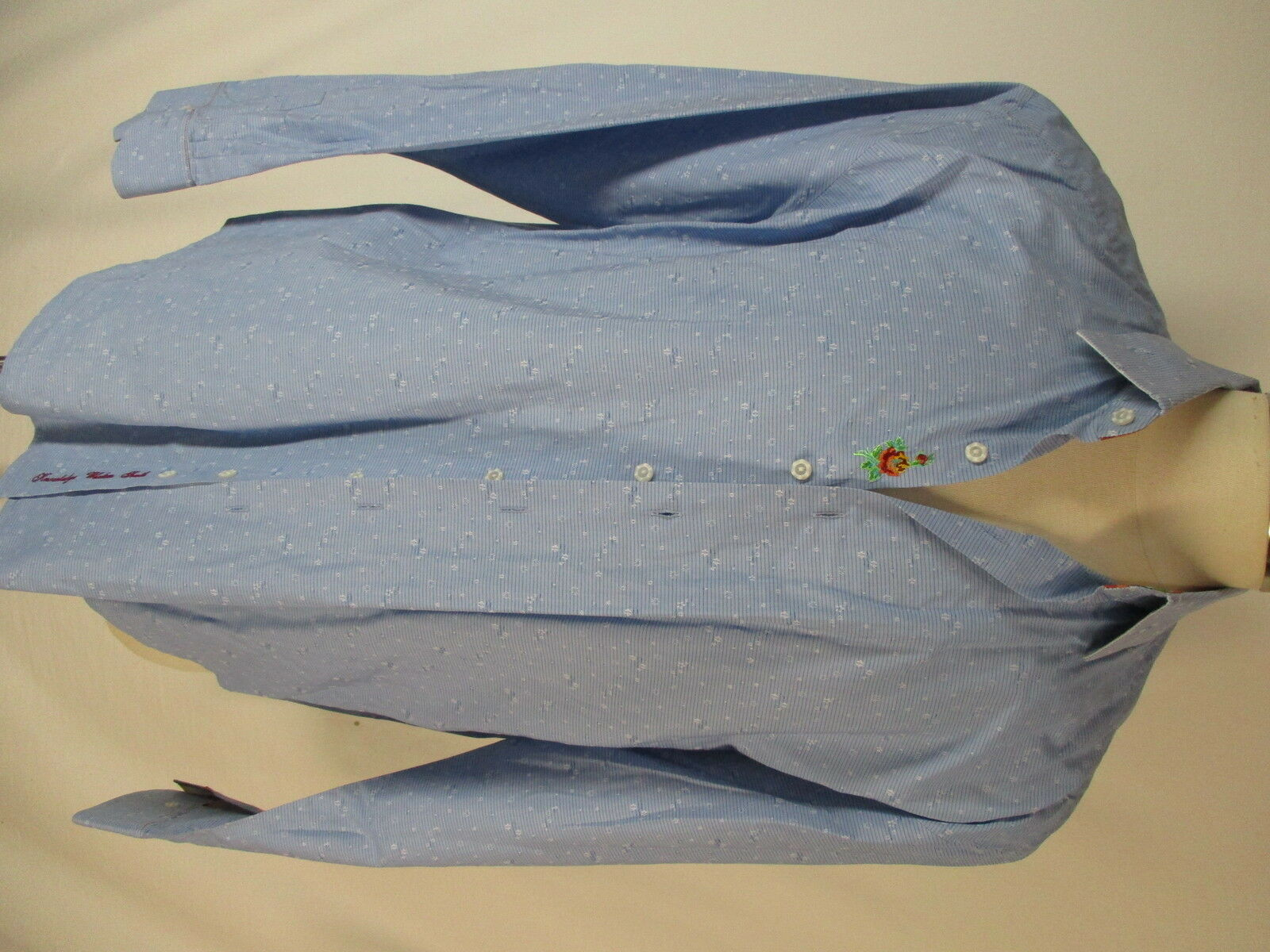 Robert Graham Mens bluee Floral Flip Cuff Cotton Shirt 2XL
