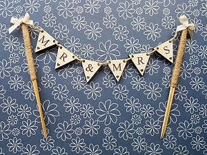 HAND-MADE-WOODEN-MR-MRS-BUNTING-CAKE-TOPPER-MR-MR-MRS-MRS-WEDDING