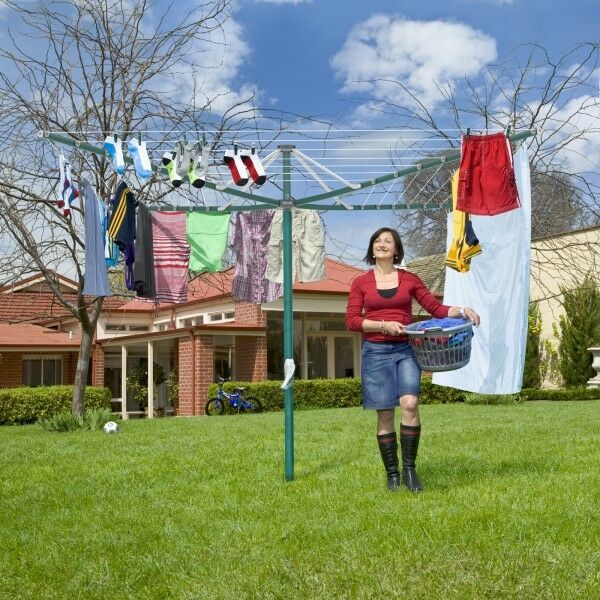 Hills Rotary 7 Washing Line Forest Glade Green (47m Clothes Line)
