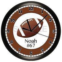 Football Wall Clock Personalized Gift Wall Decor Sports Boys Bedroom Team Ball