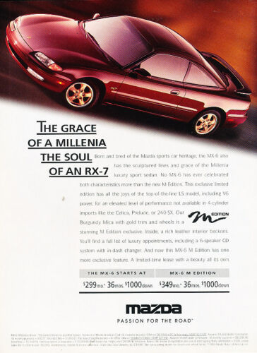 M Edition 1996 Mazda MX-6 Mx6 Vintage Advertisement Ad A22-B