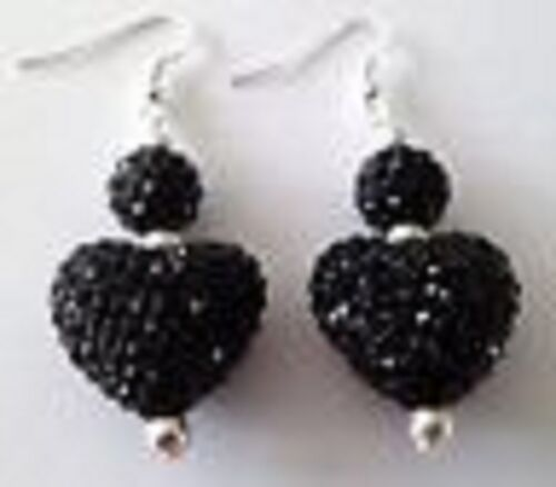 LOVELY BLACK LARGE HEART DROP EARRINGS WITH 22mm AUSTRIAN CRYSTAL DISCO BEAD