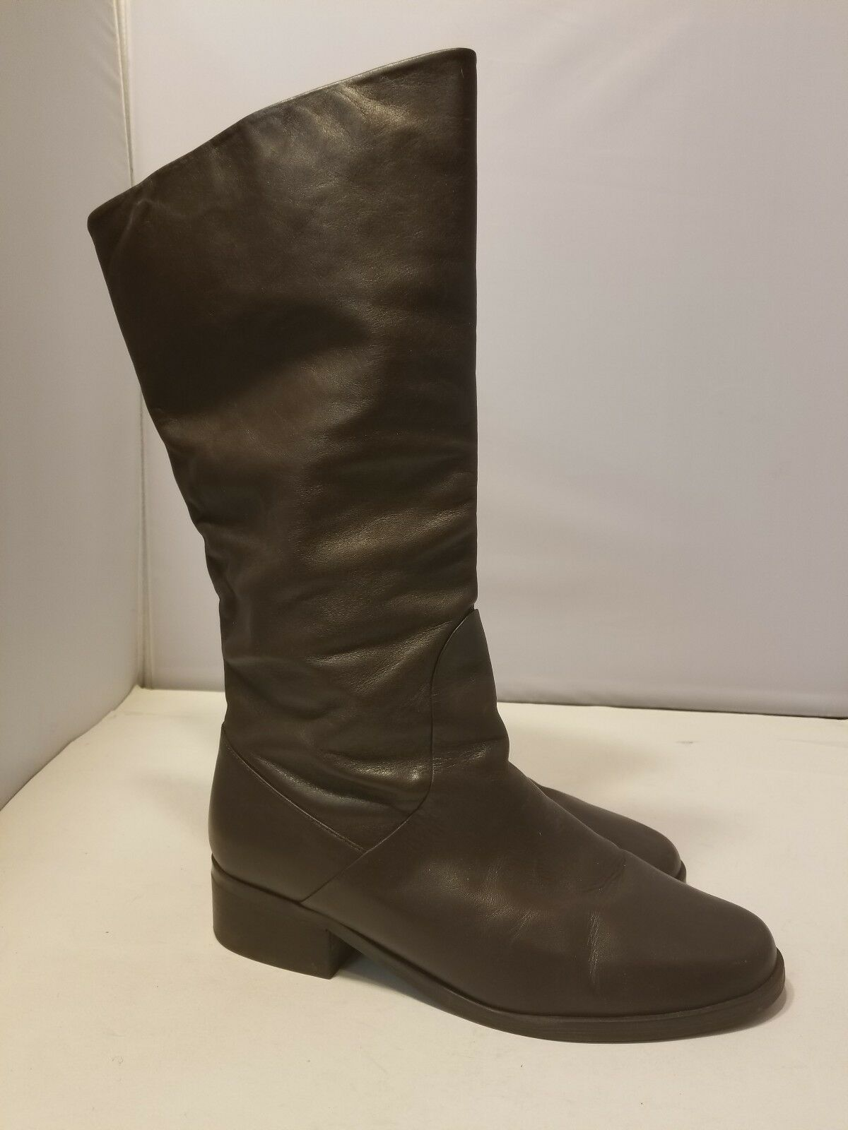 MARKON SHANDY BROWN LEATHER KNEE HIGH FASHION RIDING BOOTS SIZE 10 W  18
