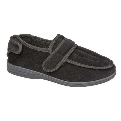 MENS NEW MULTI WAY TOUCH STRAP WARM WINTER INDOOR BLACK SLIPPERS BOOTIES SHOES