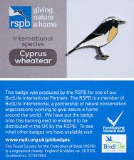 RSPB Pin Badge | Cyprus Wheatear | International Species on GNaH card [00892]