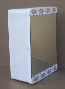 Armoire de toilette pharmacie MIROIR GILAC vintage FLEUR ROSE déco salle de bain