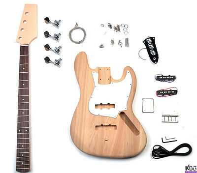 DIY Jazz Style Bass Ash Wood JB Build Your Own Bass Guitar Kit Fretless Option!
