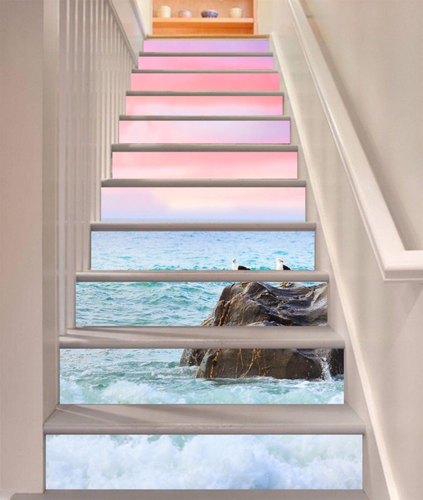 3D Sea Coast Birds Stair Risers Decoration Photo Mural Vinyl Decal Wallpaper AU