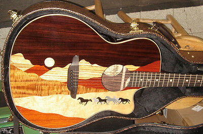 Luna Guitars Vista Mustang Rosewood Back and Sides Acoustic-Electric Gui w/CASE