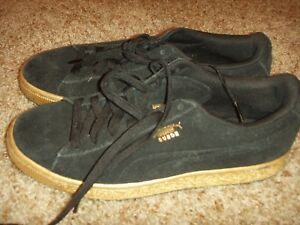 the best attitude 0cbd2 05a0f Details about Puma Suede Classic Low Black Gold Mens Size 7