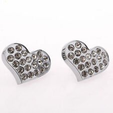 10 CD19 35mm Silver Crystal HEART Door Drawer Cabinet Furniture Handle Knob Pull