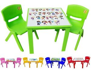 Marvelous Details About Childrens Kids Plastic Table And Chairs Nursery Sets Outdoor Tea Set Strong Caraccident5 Cool Chair Designs And Ideas Caraccident5Info