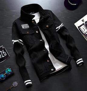 Details About 2018 Vintage Mens Black Retro Outwear Denim Cotton Jean Jacket Sleeve Men Coats
