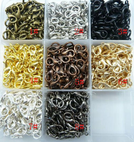 8 Color DIY For  Jewelry Necklace Bracelet Making 100pcs Alloy Lobster clasps