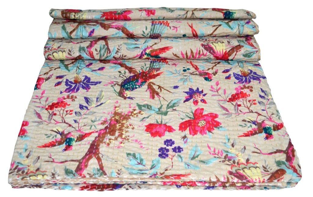 Indian Handmade Kantha Quilt Bedspread Bedding Throw Cotton Queen Beige Bird Art