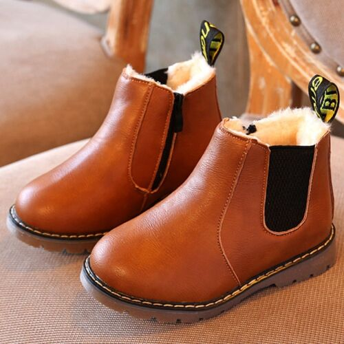 Children kids Leather Ankle Martin Boots Fur Lined Warm Baby Shoes Boys Girls