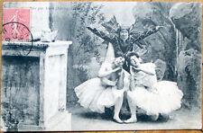 1906 Dancing Postcard: Clown/Jester w/Two Ballerinas/Ballet - 1