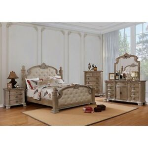 Details about 4pc Set Queen Size Bed Rustic Natural Finish Bedroom  Furniture Traditional Style