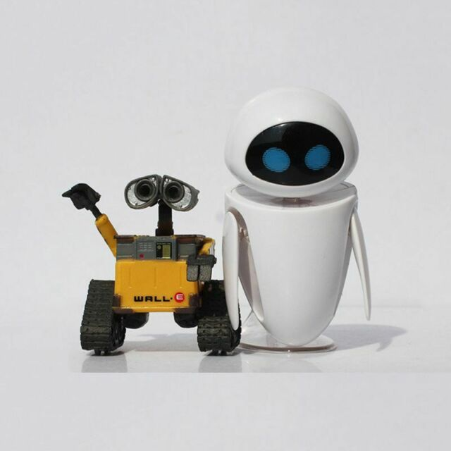 Pixar Wall-E and Eee-Vah EVE Set of 2pcs Mini Robot Action Figure Toy Cartoon
