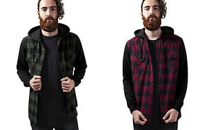 URBAN-CLASSICS-Giacca-Maglia-uomo-Hooded-Checked-Flanell-Sweat-Sleeve-TB513