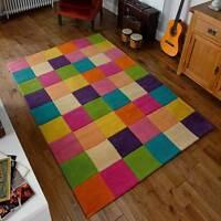 Go Multi Coloured Modern Wool Rugs - Block Design Chunky Rug 80X150CM Warrington