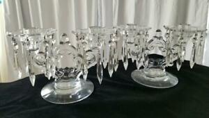 Pair-Cambridge-Crystal-Glass-Keyhole-Double-Candelabra-Prisms-Bobeche