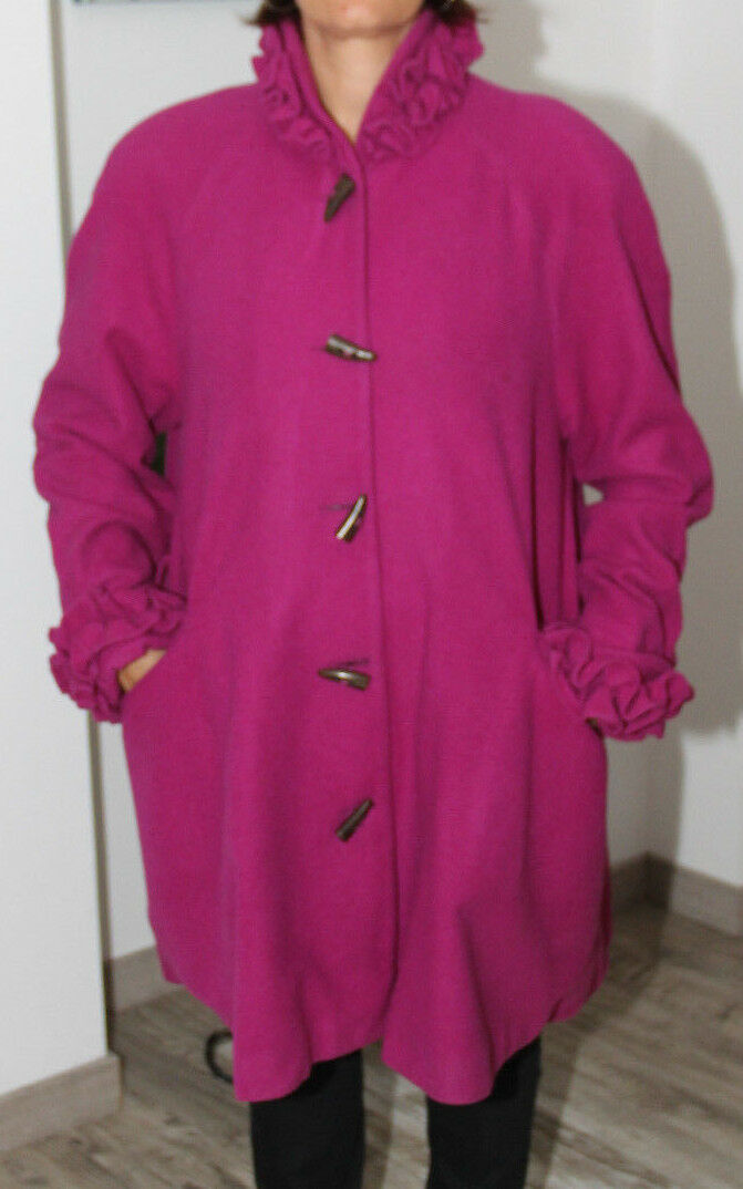 Luxurious wool coat fuchsia CHANTAL THOMAS Switt T38 perfect condition