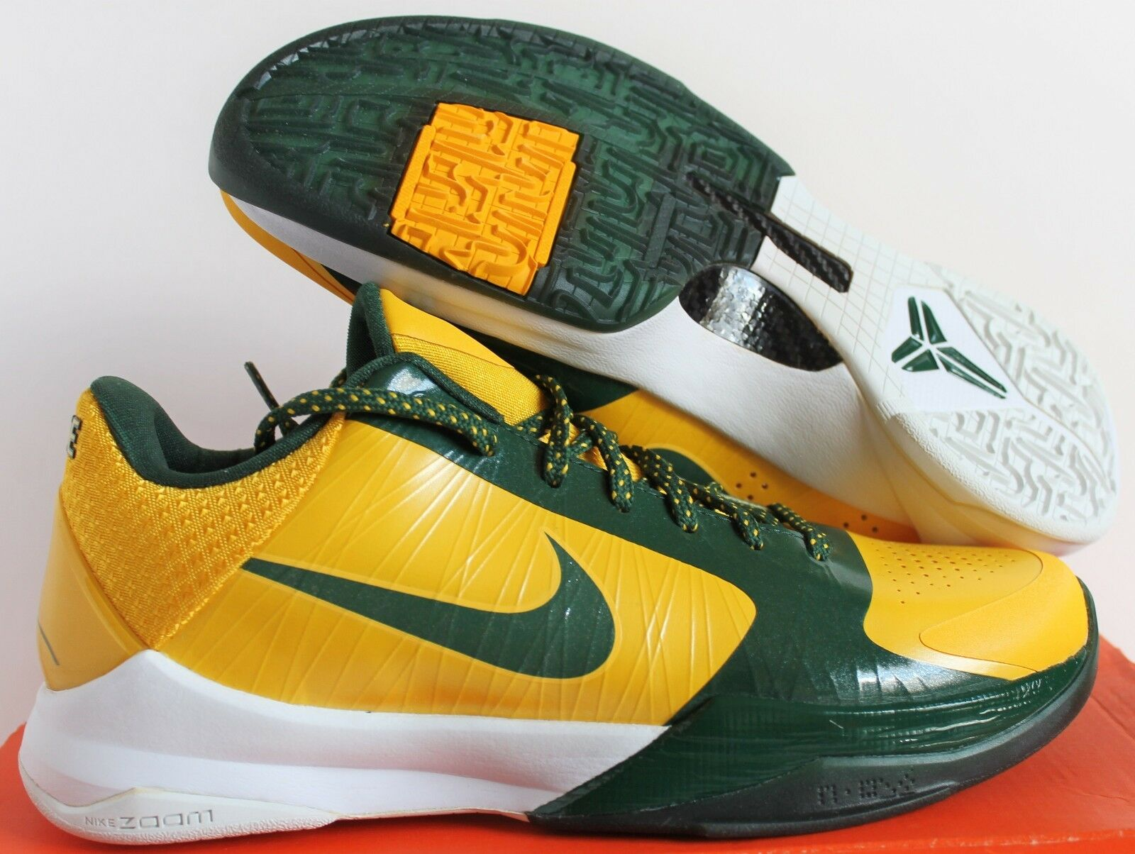 Nike 2009 Zoom Kobe V 5 Rice School High School Rice Edition Maize sz 8.5 Rare  [386429-700] 023575