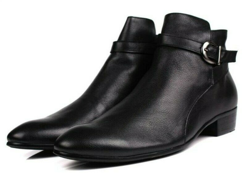 Mens  High Top Buckle Round Toe Ankle stivali Low Heel Metal Leather scarpe  sport dello shopping online