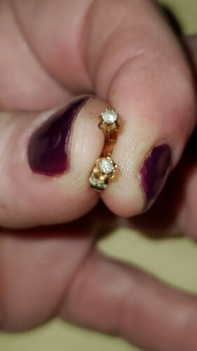 Tiny Diamond Earrings 14k Great Starter Pair Of Di