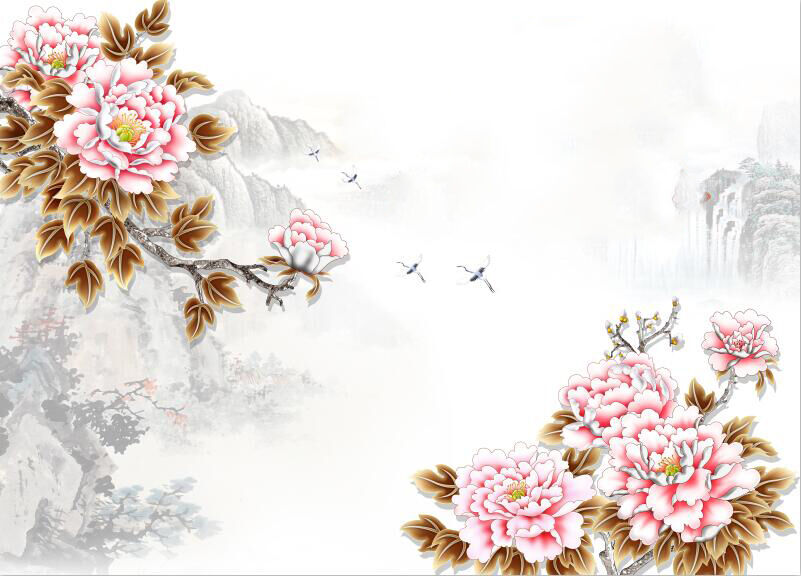 3D Flower Bird Nature Wall Paper wall Print Decal Wall Deco Indoor wall Mural