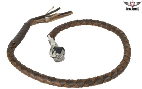 """42/"""" Genuine Hand-Braided Leather Two Tone Brown Get Back Whip For Motorcycle"""