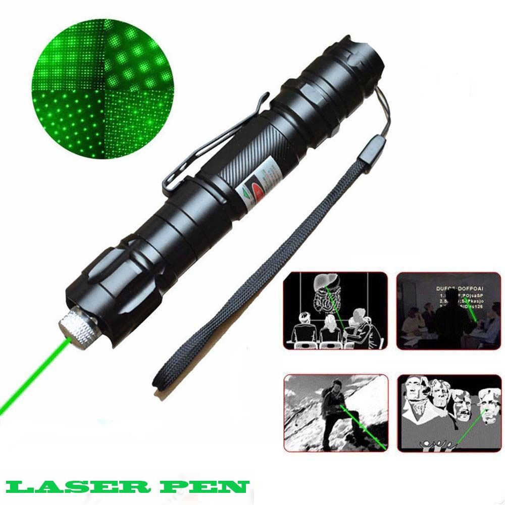 Powerful Military 5 Miles 532nm Green Laser Pointer Pen Visible Beam Star  Cap