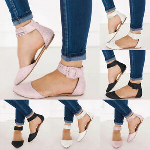 Women-Pointed-Toe-Ankle-Strap-Buckle-Flat-Shoes-Ladies-Summer-Casual-Sandals-NEW