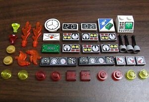 LEGO-Specialty-Parts-Lot-Decorated-Tiles-Control-Panel-Gauges-Clock-etc-city-car