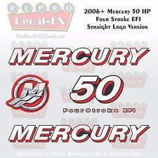 2006+ Mercury 50HP STR Decal EFI FourStroke Outboard Repro 5Pc Straight Logo Ver