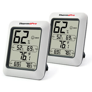 2x-ThermoPro-TP-50-Digital-LCD-Thermometer-Hygrometer-Temperature-Humidity-Meter