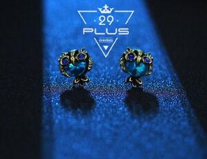 Antique-Women-Girl-925-Sterling-Silver-Owl-Blue-Stud-Earrings-Vintage-Jewelry