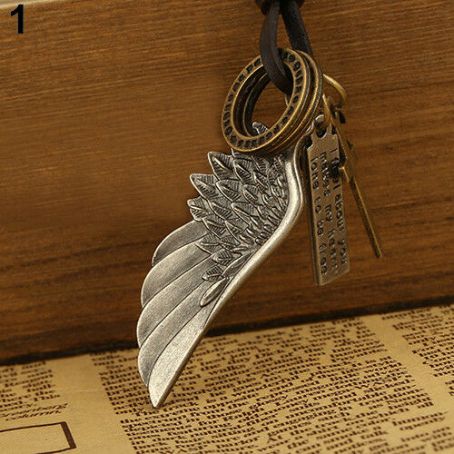 Collar Colgante de cuero de aleación de ala