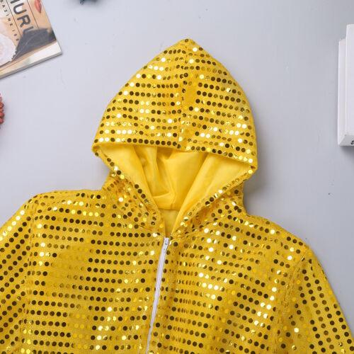 Boys Girl Street Dress Outfit Hip-hop Jazz Dance Costume Kid Shiny Dance Trouser