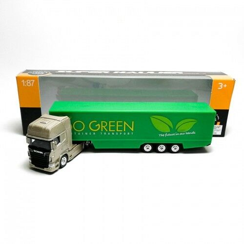Welly 1:87 DIE-CAST SCANIA V8 R730 CONTAINER TRUCK OR /& VERT Model with box