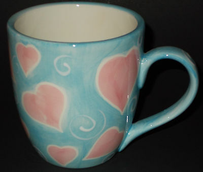 I Love You Coffee Mug NEW Tea Cup Pink Hearts Blue Handpainted Valentine 5n33