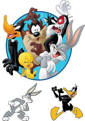 Diligente Sticker Autocollant Poster A4 Dessin Anime Looney Toons.mix Perso Logo Bunny N°2 Ritardare La Senilità