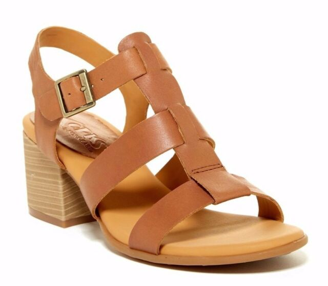 KORKS Cornelia Women's Leather Block Heel Ankle Strap Sandal Brown Size 9