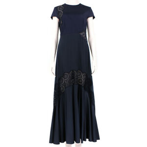 Stella-McCartney-Dark-Blue-Broderie-Anglaise-Detailed-Maxi-Dress-Gown-IT40-UK8